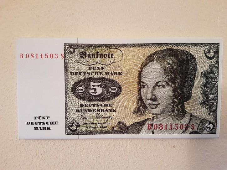 Leinwand Kunstdruck 5 DM der Serie 3. Währung BRD bis Dezember 1995