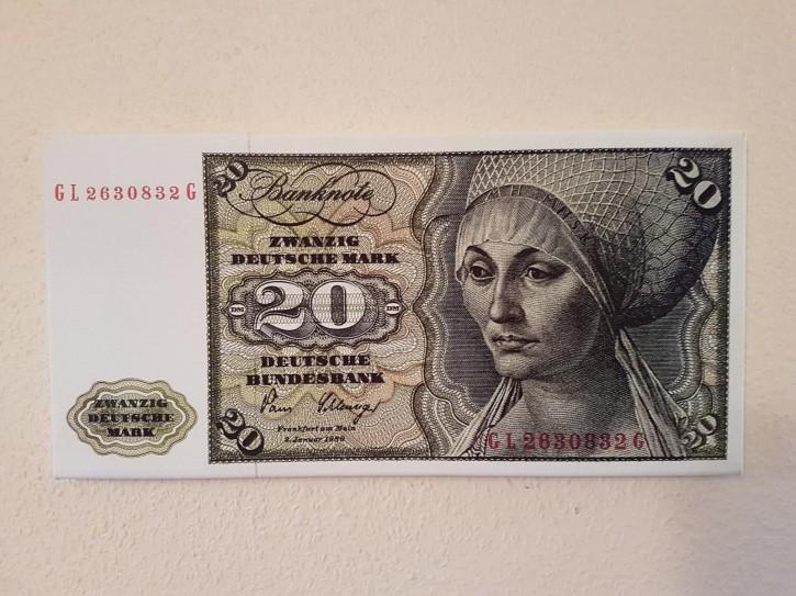 Leinwand Kunstdruck 20 DM der Serie 3. Währung BRD bis Dezember 1995