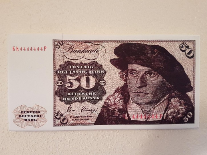 Leinwand Kunstdruck 50 DM der Serie 3. Währung BRD bis Dezember 1995