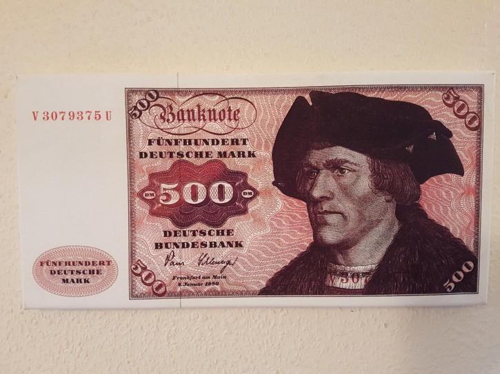 Leinwand Kunstdruck 500 DM der Serie 3. Währung BRD bis Dezember 1995