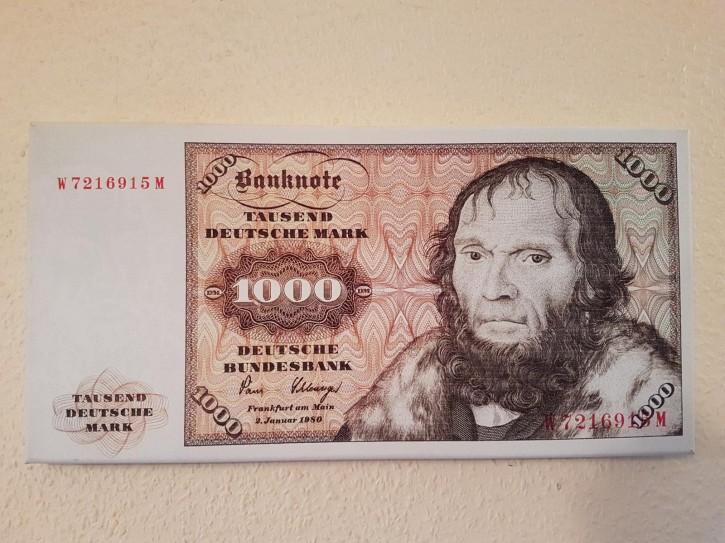 Leinwand Kunstdruck 1000 DM der Serie 3. Währung BRD bis Dezember 1995