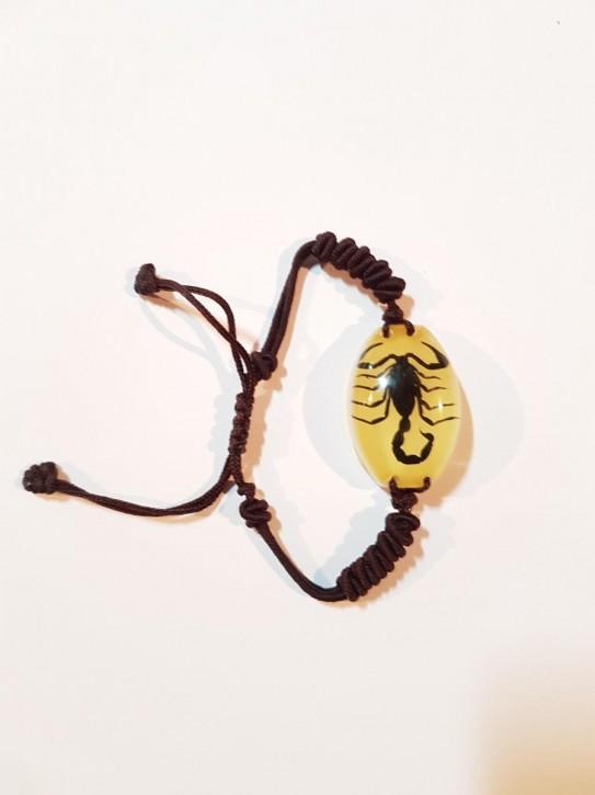 Geflochtenes Armband mit echtem, eingegossenen Schwarzen Skorpion