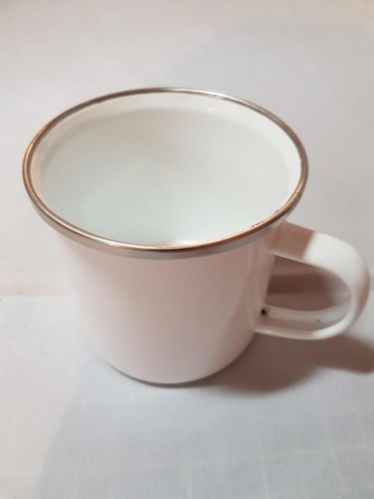 Emailletasse weiß 240 ml, mit silbernem Tassenrand