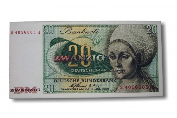 Leinwand Kunstdruck 20 DM der Serie BBK II DieGeheime Währung der BRD