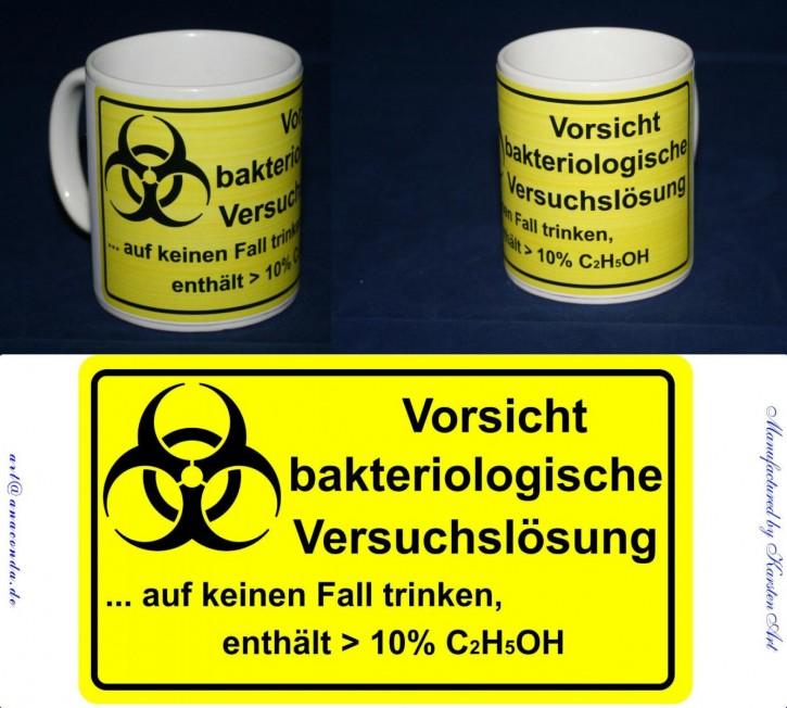 Vorsicht bakteriologische Versuchslösung - Motiv auf Keramikbecher