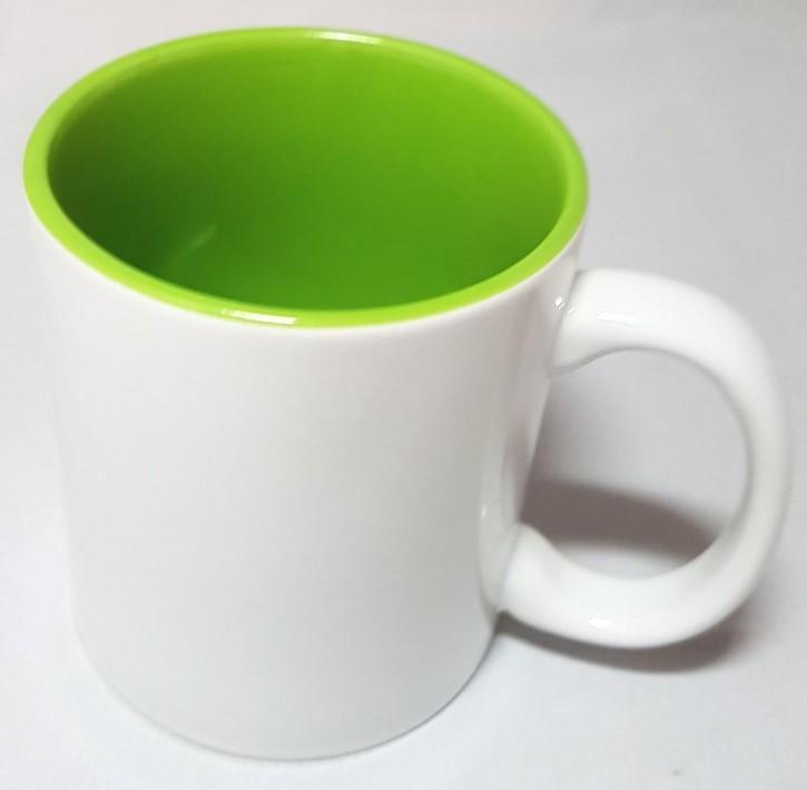 Bicolor Fototasse Innen hellgrün, weisser Henkel, Keramik bedruckbar für den Sublimationsdruck glänzende Beschichtung