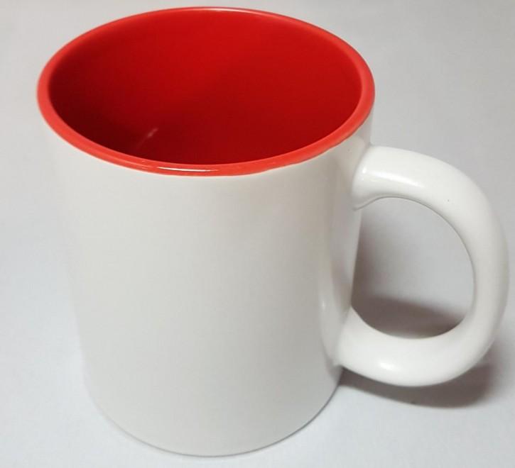 Bicolor Fototasse Innen rot, weisser Henkel, Keramik bedruckbar für den Sublimationsdruck glänzende Beschichtung