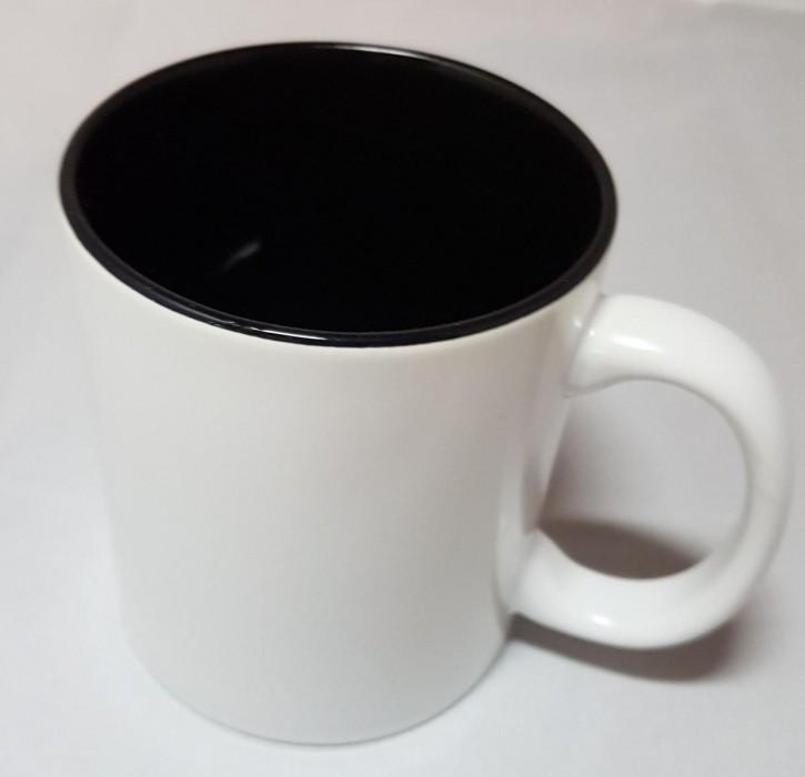 Bicolor Fototasse Innen schwarz, weisser Henkel, Keramik bedruckbar für den Sublimationsdruck glänzende Beschichtung