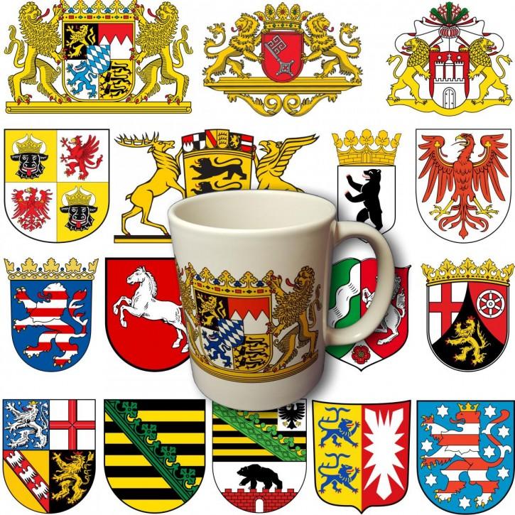 Keramik- Becher mit dem Wappen Ihres Bundeslandes Nordrhein-Westfalen