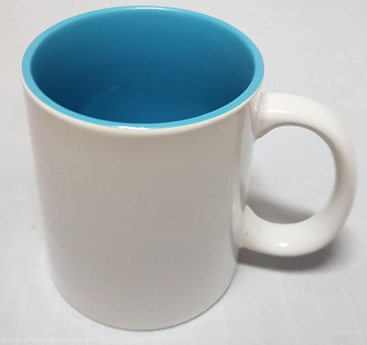 Bicolor 11 oz Fototasse Innen hellblau weisser Henkel, Keramik bedruckbar für den Sublimationsdruck glänzende Beschichtung