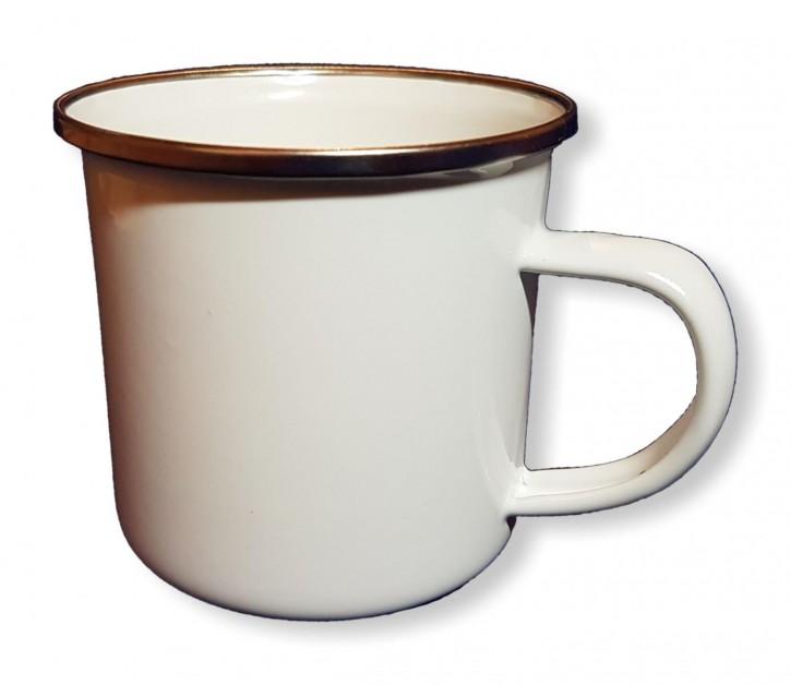 Emailletasse weiß 340 ml, mit silbernem Tassenrand