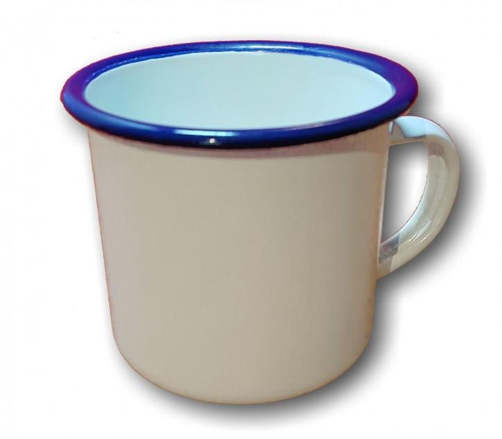 Emailletasse weiß 340 ml, mit blauem Tassenrand
