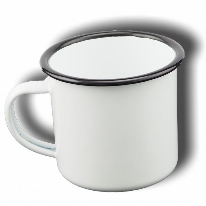 Emailletasse weiß 340 ml, mit schwarzem Tassenrand