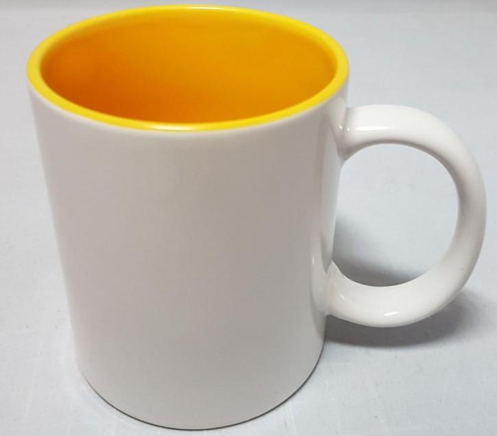 Bicolor 11 oz Fototasse Innen gelb weisser Henkel, Keramik bedruckbar für den Sublimationsdruck glänzende Beschichtung