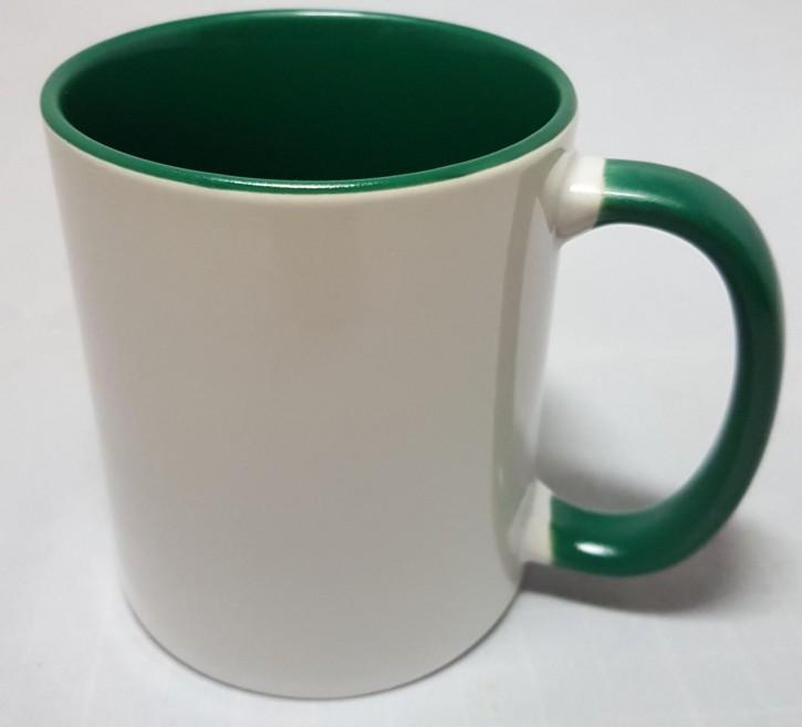 Bicolor Fototasse Innen grün, grüner Henkel, Keramik bedruckbar für den Sublimationsdruck glänzende Beschichtung