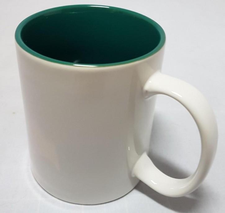Bicolor Fototasse Innen grün, weisser Henkel, Keramik bedruckbar für den Sublimationsdruck glänzende Beschichtung