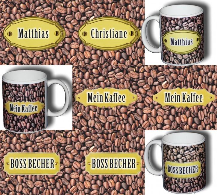 Individueller Name auf Fototasse mit Kaffeebohnen-Motiv