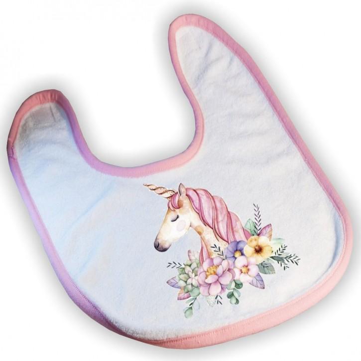 Lätzchen mit Ihrem eigenen Motiv mit rosa Einfassband Frottee
