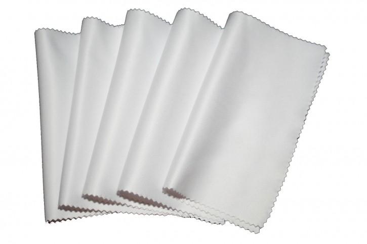 5 Stück Brillenputztuch Mikrofasertuch Weiß groß 15x18 cm 260g/m², schwere Qualität