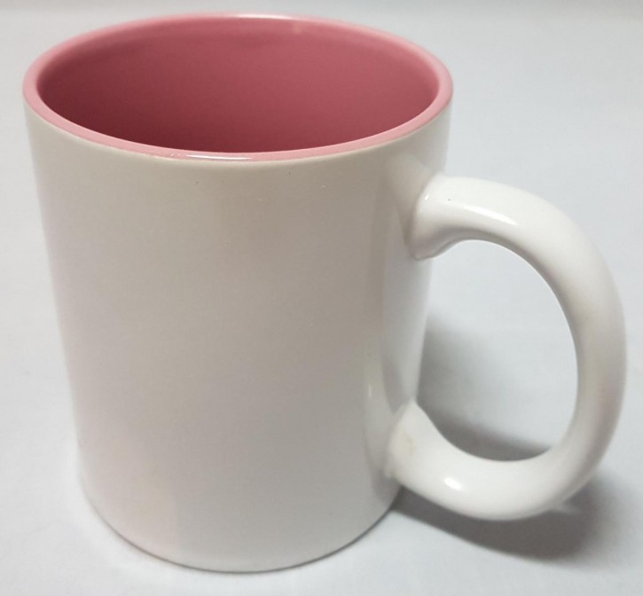 Bicolor Fototasse Innen rosa, weisser Henkel, Keramik bedruckbar für den Sublimationsdruck glänzende Beschichtung