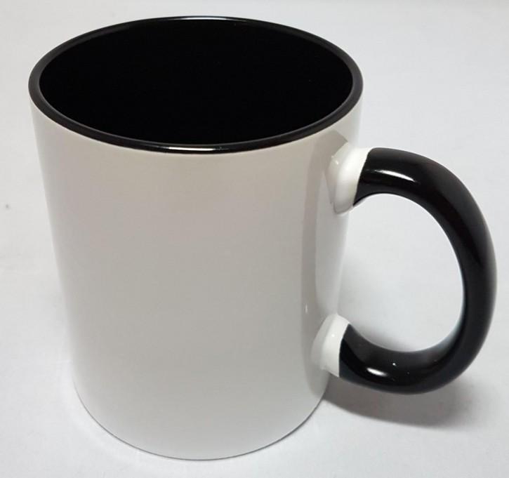 Bicolor Fototasse Innen schwarz, schwarzer Henkel, Keramik bedruckbar für den Sublimationsdruck glänzende Beschichtung