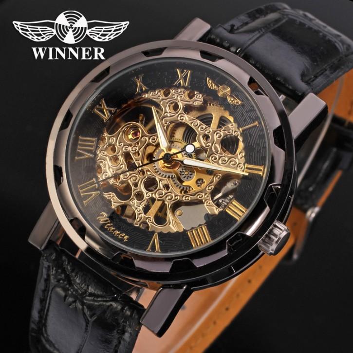 Winner Luxus Edelstahl Leder Skelettuhr [1]