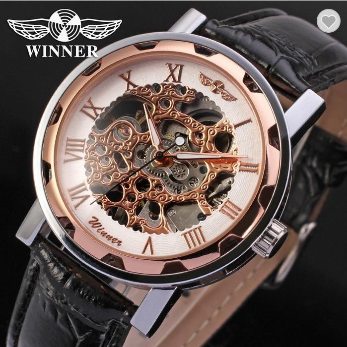 Winner Luxus Edelstahl Leder Skelettuhr [10]
