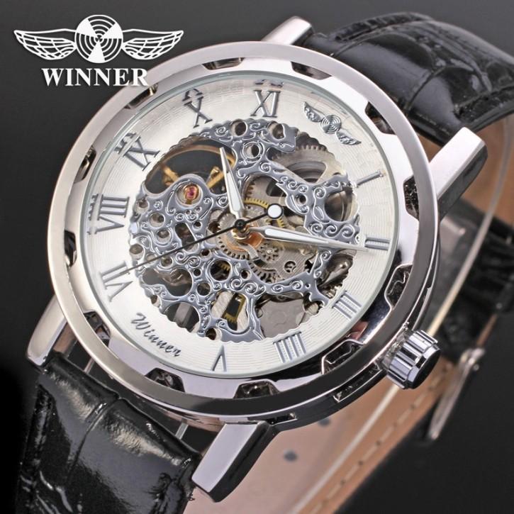 Winner Luxus Edelstahl Leder Skelettuhr [11]