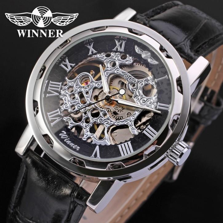 Winner Luxus Edelstahl Leder Skelettuhr [7]