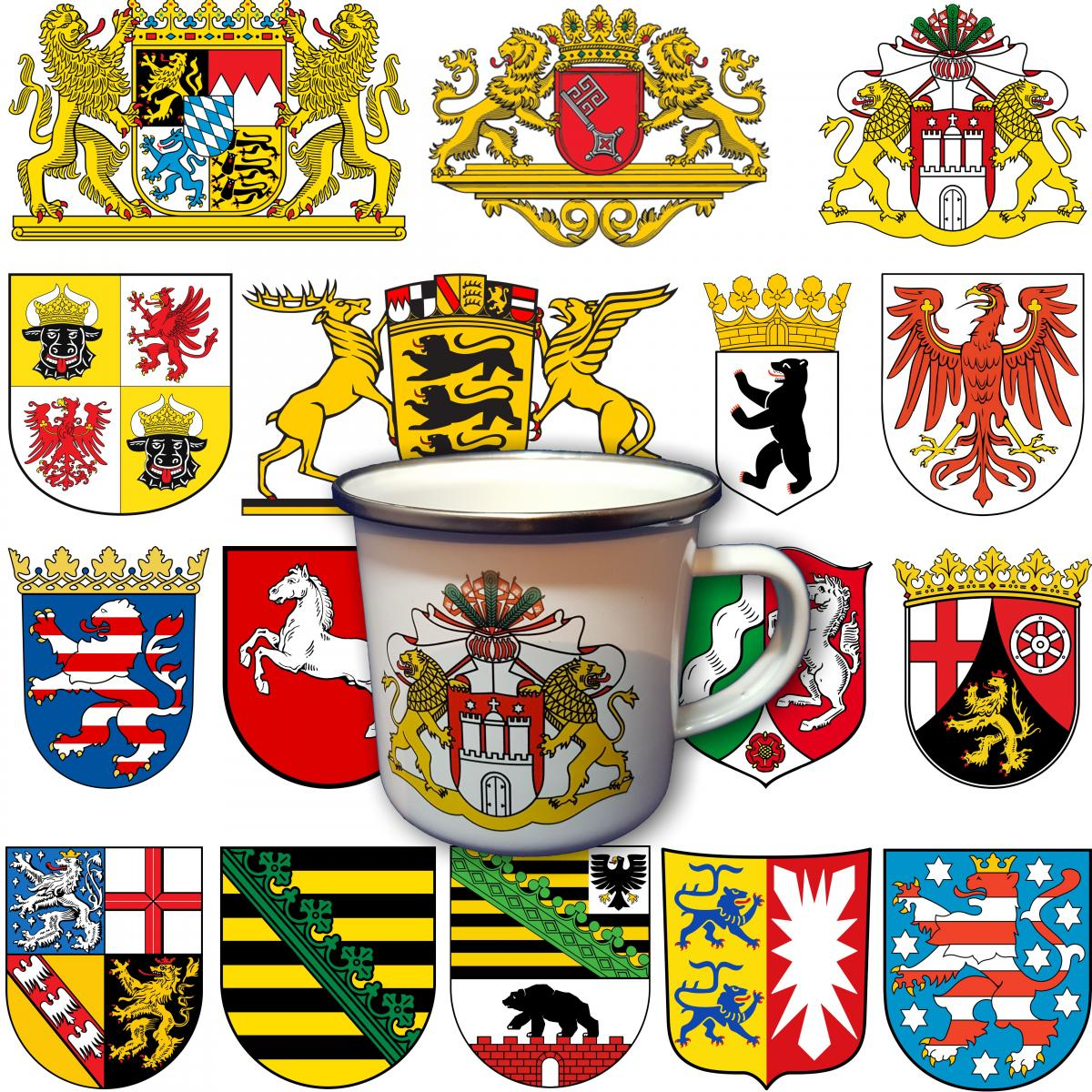 Emaille Becher Mit Dem Wappen Ihres Bundeslandes Schleswig
